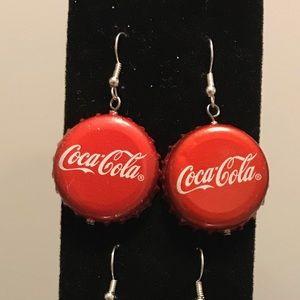 Coke bottle cap earrings!